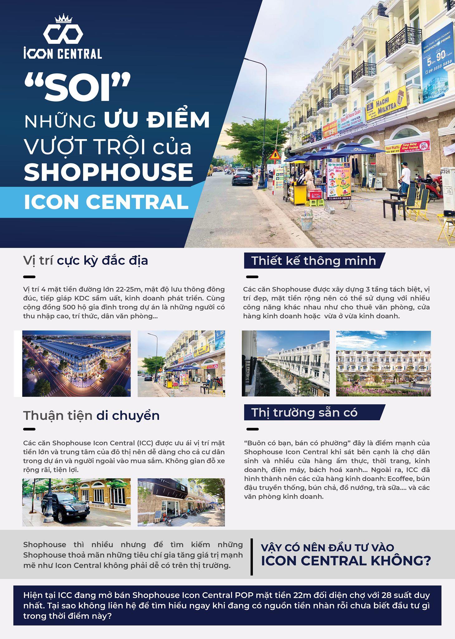 Chuyển nhượng shophouse đất nền Icon Central 8